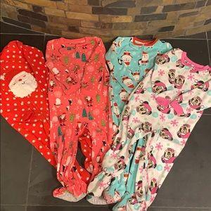 3T girls footie Christmas pajamas bundle